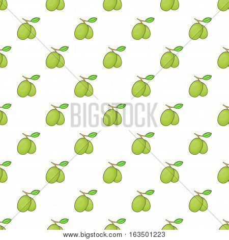 Olives branch with leaves pattern. Cartoon illustration of olives branch with leaves vector pattern for web