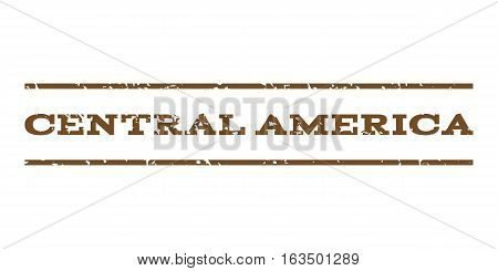 Central America watermark stamp. Text tag between horizontal parallel lines with grunge design style. Rubber seal stamp with dirty texture. Vector brown color ink imprint on a white background.