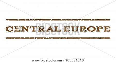 Central Europe watermark stamp. Text caption between horizontal parallel lines with grunge design style. Rubber seal stamp with dust texture. Vector brown color ink imprint on a white background.