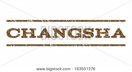 Changsha watermark stamp. Text tag between horizontal parallel lines with grunge design style. Rubber seal stamp with unclean texture. Vector brown color ink imprint on a white background.
