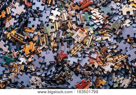 Kids Jigsaw puzzle pieces color background .