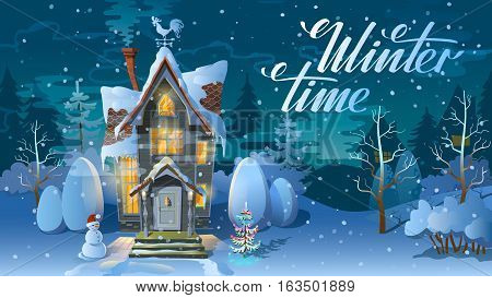 Winter time. Night of Christmas, the Family house before a holiday. An illustration for a card. New Year's poster