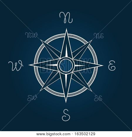 Wind rose vector illustration. Polaris coordination compass poster with rope knot signs. West east pointer