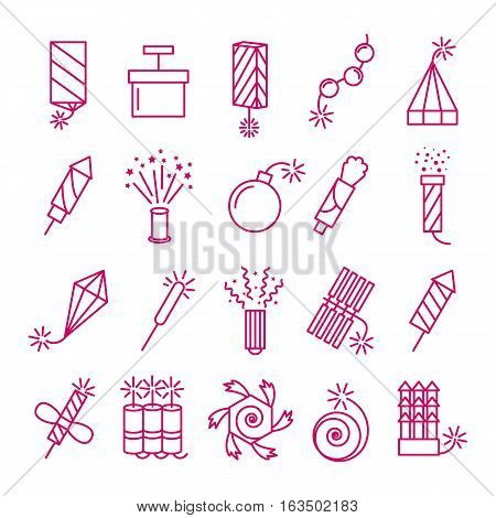 Vector pyrotechnic icons set. Celebration festival dynamite fireworks with sparks and explosions signs. Petard and rocket linear style illustration
