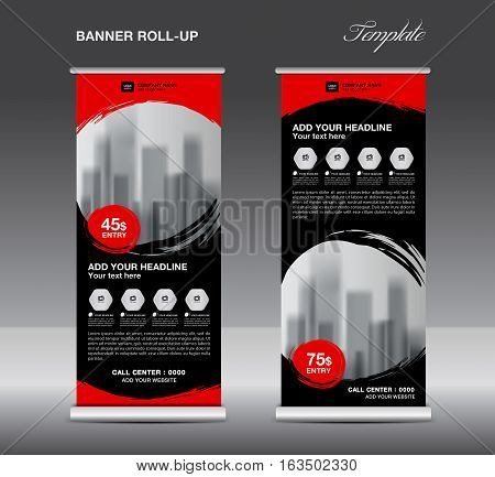 Black Roll up banner template vector, flyer, advertisement ,poster, Display, pull up design