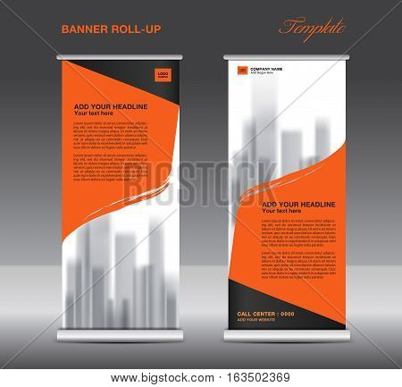 Orange Roll up banner template, vector, flyer, advertisement , poster, Display, pull up design