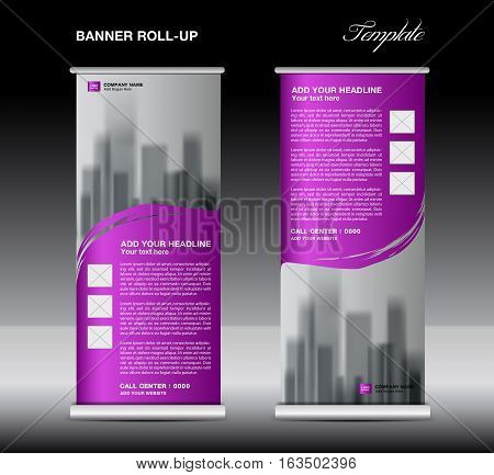 Purple Roll up banner template vector, flyer, advertisement , poster, Display, pull up design