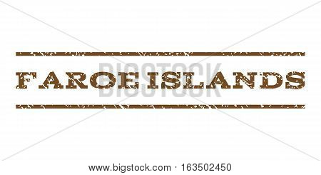 Faroe Islands watermark stamp. Text tag between horizontal parallel lines with grunge design style. Rubber seal stamp with scratched texture. Vector brown color ink imprint on a white background.
