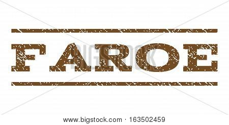 Faroe watermark stamp. Text tag between horizontal parallel lines with grunge design style. Rubber seal stamp with dust texture. Vector brown color ink imprint on a white background.