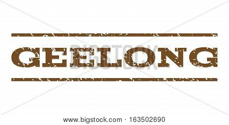 Geelong watermark stamp. Text caption between horizontal parallel lines with grunge design style. Rubber seal stamp with unclean texture. Vector brown color ink imprint on a white background.