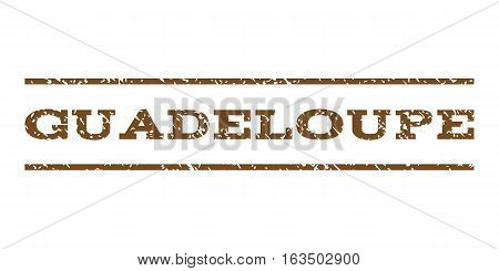 Guadeloupe watermark stamp. Text tag between horizontal parallel lines with grunge design style. Rubber seal stamp with scratched texture. Vector brown color ink imprint on a white background.