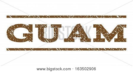 Guam watermark stamp. Text tag between horizontal parallel lines with grunge design style. Rubber seal stamp with scratched texture. Vector brown color ink imprint on a white background.