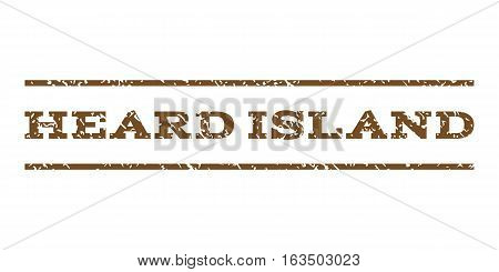 Heard Island watermark stamp. Text tag between horizontal parallel lines with grunge design style. Rubber seal stamp with dirty texture. Vector brown color ink imprint on a white background.