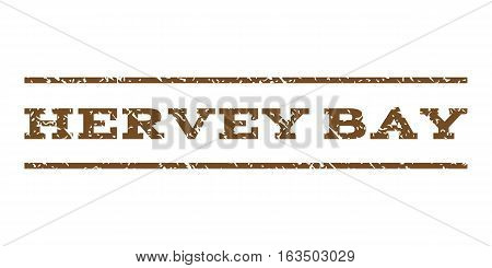 Hervey Bay watermark stamp. Text tag between horizontal parallel lines with grunge design style. Rubber seal stamp with unclean texture. Vector brown color ink imprint on a white background.
