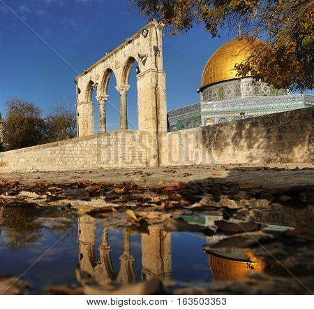 Dome of the Rock  a shrine on  the Temple Mount in the Old City of Jerusalem, Israel.
