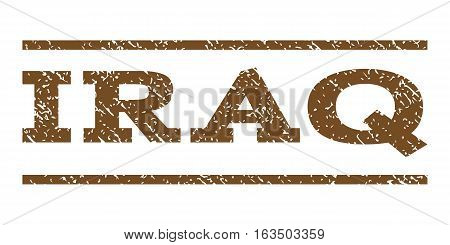 Iraq watermark stamp. Text tag between horizontal parallel lines with grunge design style. Rubber seal stamp with scratched texture. Vector brown color ink imprint on a white background.