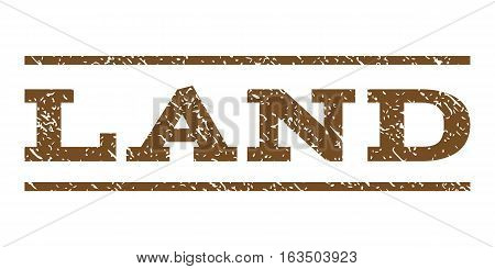 Land watermark stamp. Text caption between horizontal parallel lines with grunge design style. Rubber seal stamp with dirty texture. Vector brown color ink imprint on a white background.