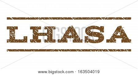 Lhasa watermark stamp. Text tag between horizontal parallel lines with grunge design style. Rubber seal stamp with dust texture. Vector brown color ink imprint on a white background.