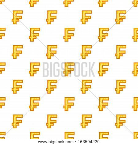 Swiss franc currency symbol pattern. Cartoon illustration of swiss franc currency symbol vector pattern for web