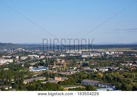 Landscape of Mukachevo city. Zakarpatska Oblast. Ukraine.