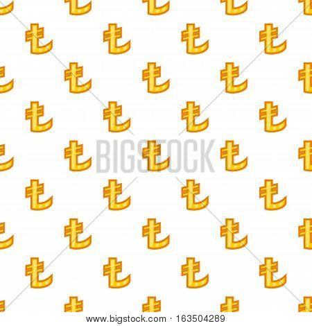 Lira currency symbol pattern. Cartoon illustration of lira currency symbol vector pattern for web