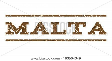 Malta watermark stamp. Text caption between horizontal parallel lines with grunge design style. Rubber seal stamp with scratched texture. Vector brown color ink imprint on a white background.