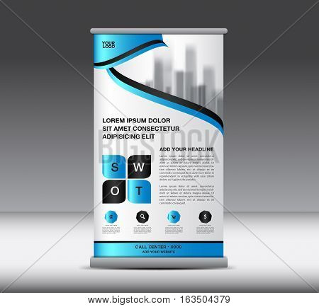 Blue Roll Up Banner template vector illustration, home, city, standy design, display, advertisement, x-banner