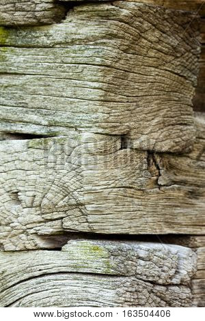 The corner of the old log house. Close up. Wooden texture.