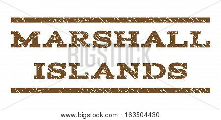 Marshall Islands watermark stamp. Text tag between horizontal parallel lines with grunge design style. Rubber seal stamp with unclean texture. Vector brown color ink imprint on a white background.