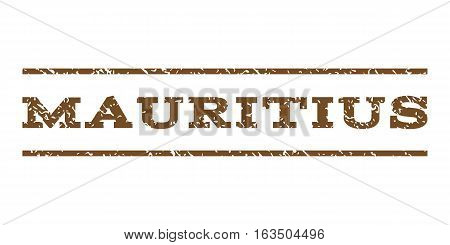 Mauritius watermark stamp. Text tag between horizontal parallel lines with grunge design style. Rubber seal stamp with dirty texture. Vector brown color ink imprint on a white background.