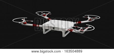 3d illustration of drone isolated black background