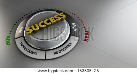 3d Illustration of Success knob button switch. High confidence level concept. Technical design management modern.