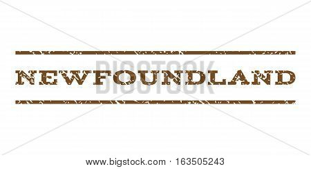Newfoundland watermark stamp. Text tag between horizontal parallel lines with grunge design style. Rubber seal stamp with unclean texture. Vector brown color ink imprint on a white background.