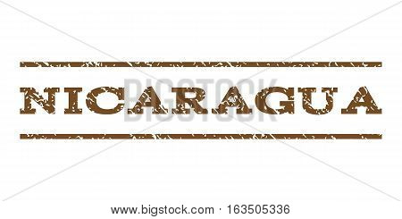 Nicaragua watermark stamp. Text caption between horizontal parallel lines with grunge design style. Rubber seal stamp with dirty texture. Vector brown color ink imprint on a white background.