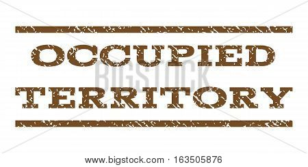 Occupied Territory watermark stamp. Text tag between horizontal parallel lines with grunge design style. Rubber seal stamp with dirty texture. Vector brown color ink imprint on a white background.