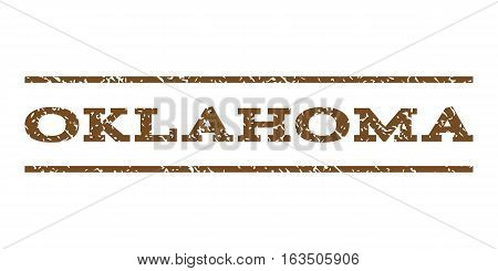 Oklahoma watermark stamp. Text caption between horizontal parallel lines with grunge design style. Rubber seal stamp with dust texture. Vector brown color ink imprint on a white background.