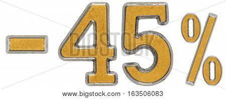 Percent Off. Discount. Minus 45, Forty Five,  Percent. Metal Numeral, Isolated On White Background