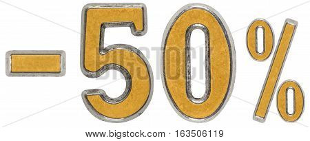 Percent Off. Discount. Minus 50, Fifty,  Percent. Metal Numeral, Isolated On White Background