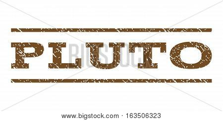 Pluto watermark stamp. Text tag between horizontal parallel lines with grunge design style. Rubber seal stamp with dust texture. Vector brown color ink imprint on a white background.