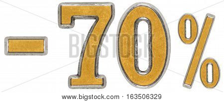 Percent Off. Discount. Minus 70, Seventy,  Percent. Metal Numeral, Isolated On White Background