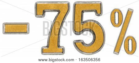 Percent Off. Discount. Minus 75, Seventy Five,  Percent. Metal Numeral, Isolated On White Background