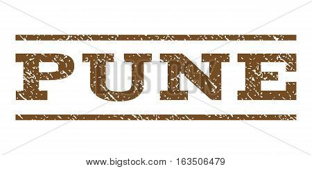 Pune watermark stamp. Text caption between horizontal parallel lines with grunge design style. Rubber seal stamp with dust texture. Vector brown color ink imprint on a white background.