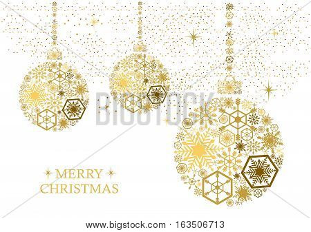 Golden christmas balls with snowflakes on a white background. Holiday card