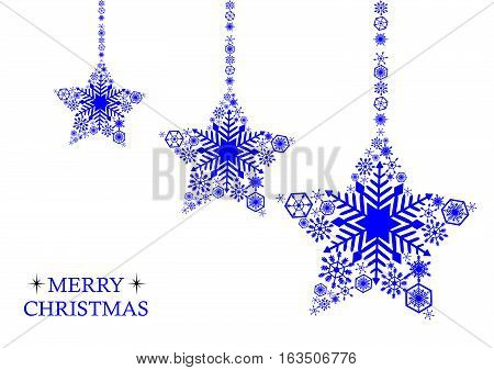 Blue christmas stars with snowflakes on a white background. Holiday card