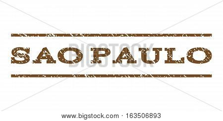 Sao Paulo watermark stamp. Text caption between horizontal parallel lines with grunge design style. Rubber seal stamp with dust texture. Vector brown color ink imprint on a white background.