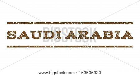 Saudi Arabia watermark stamp. Text caption between horizontal parallel lines with grunge design style. Rubber seal stamp with dust texture. Vector brown color ink imprint on a white background.