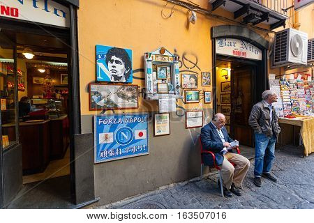 Altar Of Maradona Outside The Bar Nilo In Naples