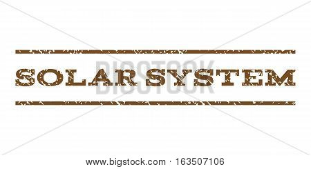 Solar System watermark stamp. Text caption between horizontal parallel lines with grunge design style. Rubber seal stamp with dust texture. Vector brown color ink imprint on a white background.