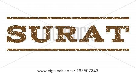 Surat watermark stamp. Text tag between horizontal parallel lines with grunge design style. Rubber seal stamp with dust texture. Vector brown color ink imprint on a white background.