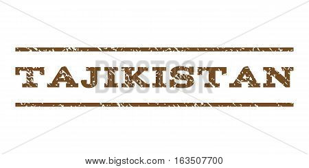 Tajikistan watermark stamp. Text caption between horizontal parallel lines with grunge design style. Rubber seal stamp with dirty texture. Vector brown color ink imprint on a white background.